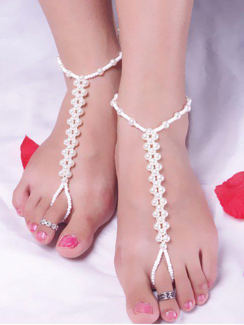 Wulstige Fußkettchen mit Künstlicher Perle - Weiß  Mobile