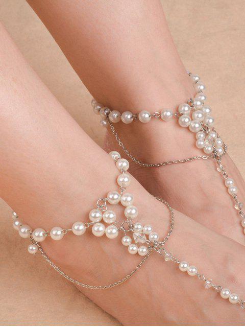 Chaîne de cheville de perles artificielles - Argent  Mobile