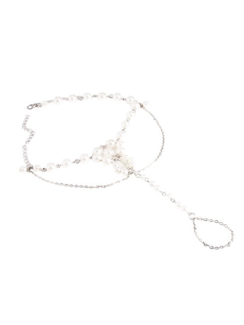 womens Artificial Pearl Beaded Chain Anklet - SILVER  Mobile