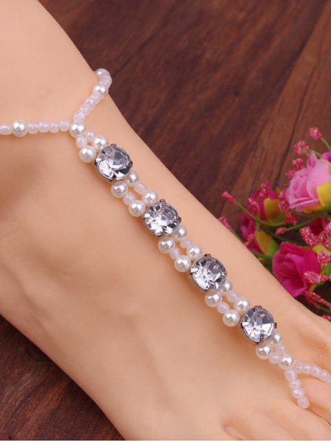 women Rhinestone Faux Pearl Elastic Anklet - WHITE  Mobile