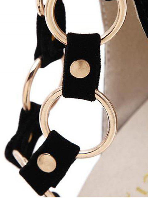 sale Metal Rings Peep Toe Zipper Sandals - BLACK 38 Mobile