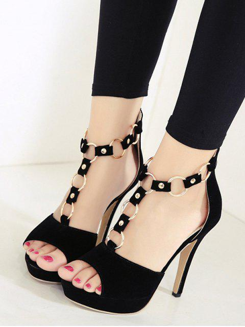affordable Metal Rings Peep Toe Zipper Sandals - BLACK 39 Mobile