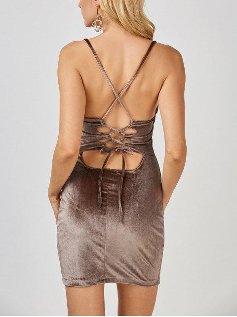 chic Velvet Cross Back Bodycon Mini Dress - COFFEE M Mobile