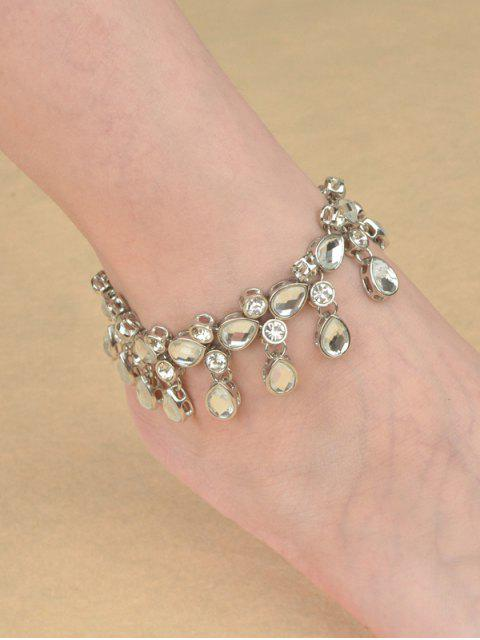 lady Teardrop Rhinestone Alloy Anklet - SILVER  Mobile