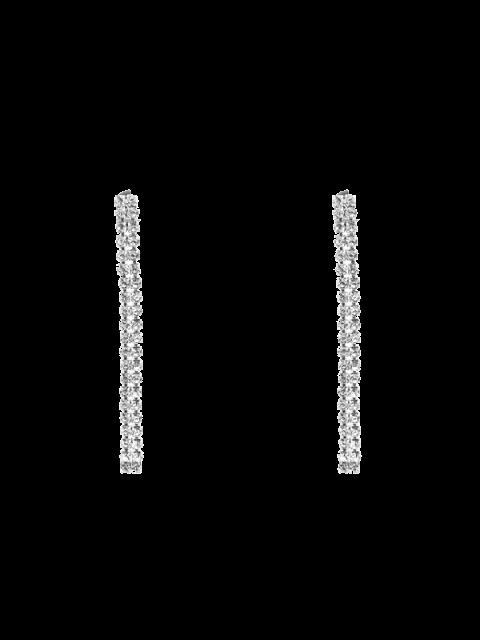 Boucles d'oreilles en bandes de strass - Argent  Mobile