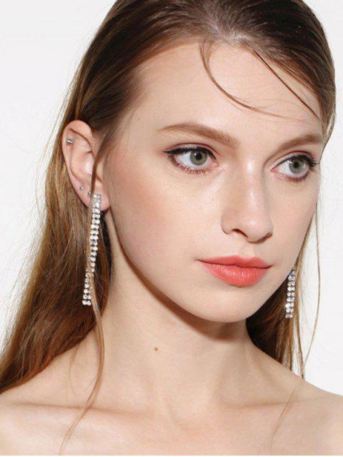 Boucles d'oreilles en bandes de strass - SILVER  Mobile