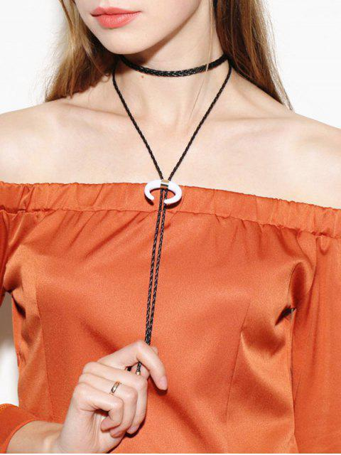 women's Moon Bolo Tie Choker Necklace - BLACK  Mobile
