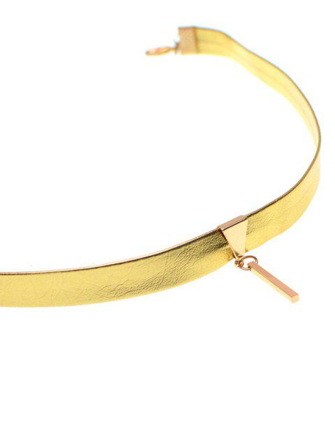 lady Artificial Leather Bar Choker Necklace - GOLDEN  Mobile