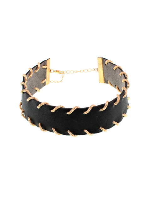 new Alloy Artificial Leather Choker Necklace - BLACK  Mobile