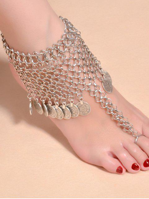 best Alloy Coin Fringed Mesh Belly Dance Anklet - SILVER  Mobile