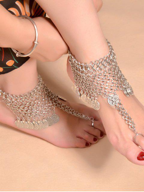 best Alloy Coin Fringed Mesh Belly Dance Anklet - SILVER  Mobile