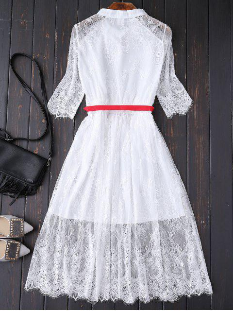 lady Buttoned Lace Dress With Belt - WHITE M Mobile