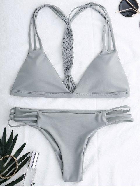 shop Cutout Strappy Bikini Set - GRAY S Mobile