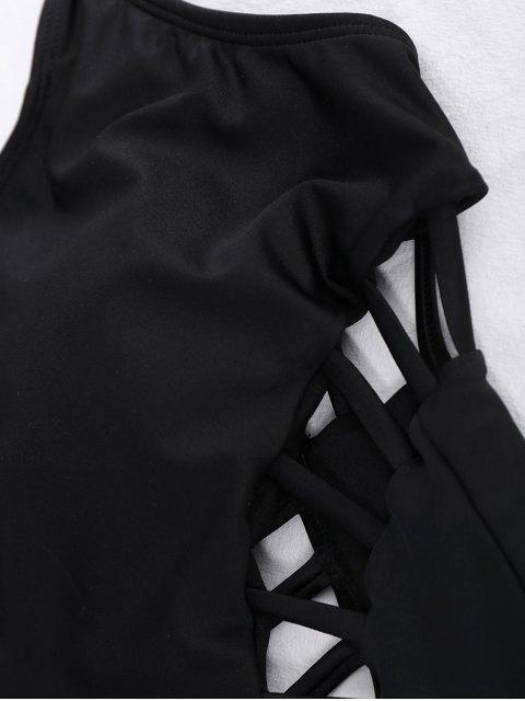Maillots de bain une-pièce à bretelle avec découpes - Noir L Mobile