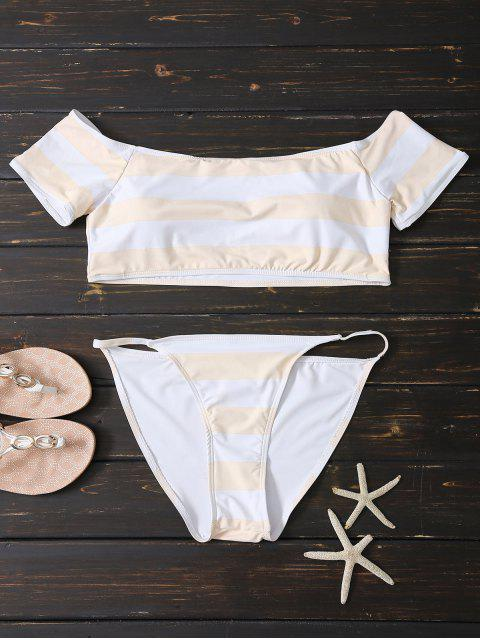 women's Off Shoulder Striped Bikini - PINK AND WHITE S Mobile