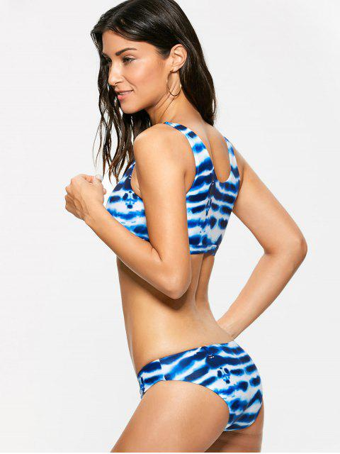 buy Pullover Tie Dye Bralette Swimsuits - BLUE AND WHITE S Mobile
