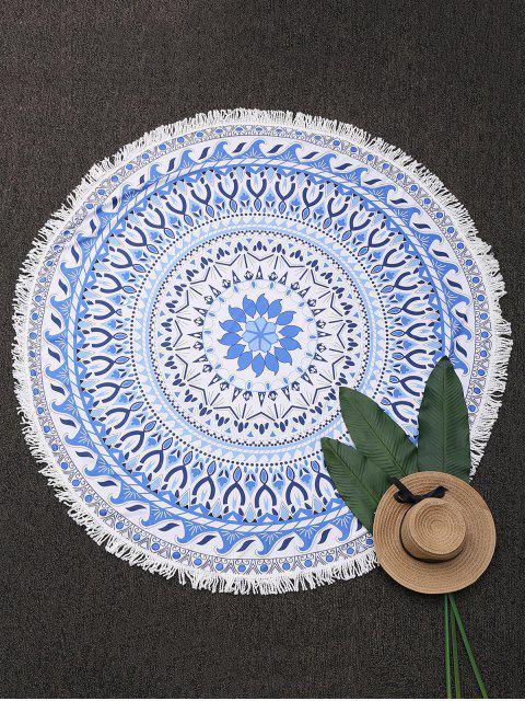 Serviette de plage ronde frangée à motif cachemire - Bleu TAILLE MOYENNE Mobile