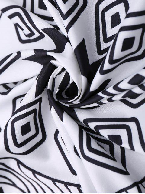 Serviette de plage ronde frangée à motifs de plantes - Blanc TAILLE MOYENNE Mobile