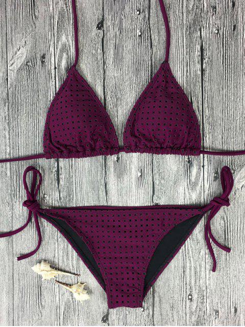 Ensemble de bikini col plongeant imprimé carreau avec cordonnet noué latéral - Rose Rouge S Mobile