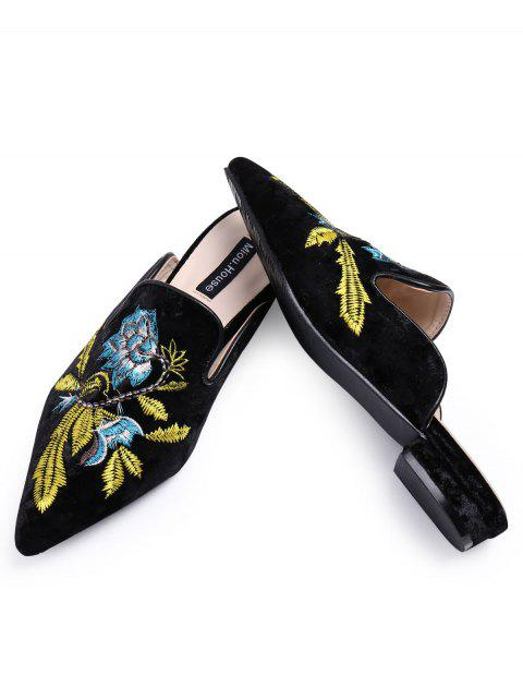 fancy Pointed Toe Embroidered Velvet Flat Shoes - BLUE 37 Mobile