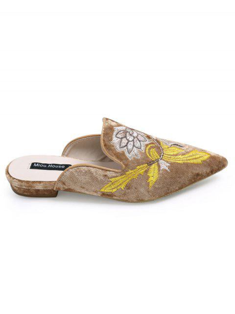 latest Pointed Toe Embroidered Velvet Flat Shoes - BROWN 38 Mobile