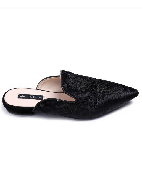 lady Pointed Toe Embroidered Velvet Flat Shoes - BLACK 37 Mobile