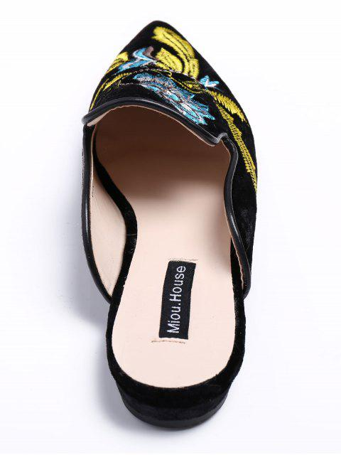 fashion Pointed Toe Embroidered Velvet Flat Shoes - BLUE 39 Mobile
