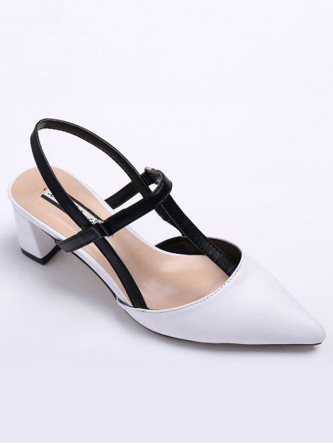 ladies Slingback Chunky Heel T Bar Pumps - WHITE 38 Mobile