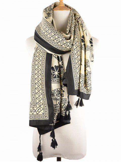 unique Geometric Elephant Print Tassel Scarf -   Mobile