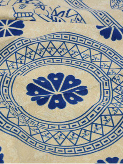 sale Geometric Elephant Print Tassel Scarf -   Mobile