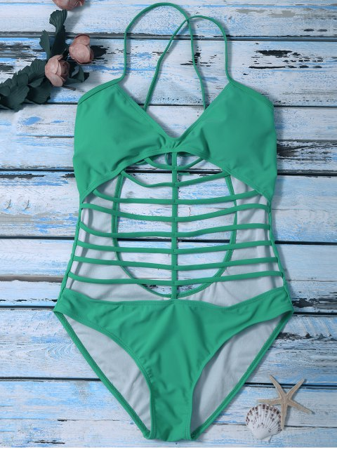 new Cross Back One Piece Cutout Bathing Suit - GREEN S Mobile