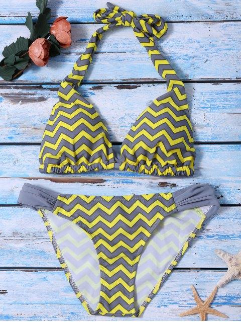 lady Ruched Bottom Zig Zag Bikini Set - YELLOW S Mobile