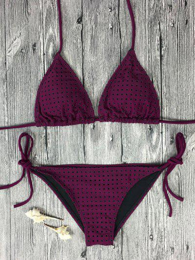 Rope Tie Side Square Plunge Bikini Set - Rose Madder S