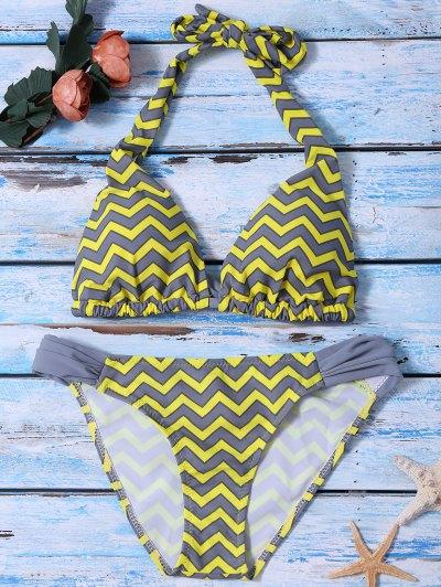 Ruched Bottom Zig Zag Bikini Set - Yellow S