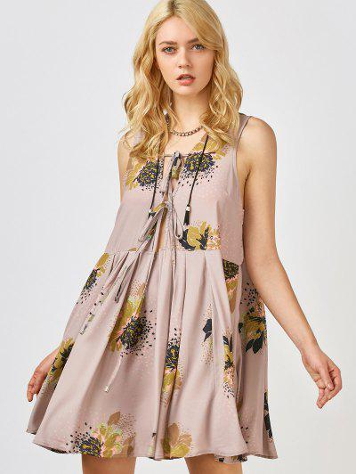 Printed Tie Up Plunge Sundress - Pale Pinkish Grey L