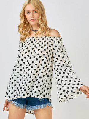 Polka Dot Off The Shoulder Top - Branco Xl
