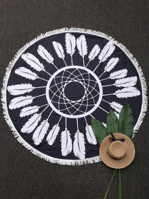 Round Plant Beach Throw With Tassels - Black