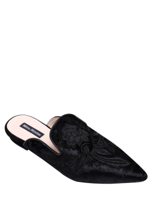 Spitzzehe gestickte Samt flache Schuhe