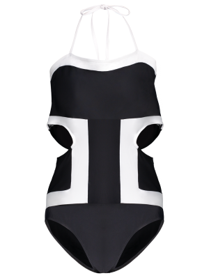 Plus Size Cut Out Color Block Swimwear - Black 4xl