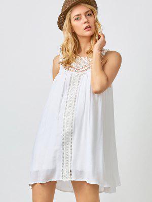 Mini Trapeze Summer Dress - White L