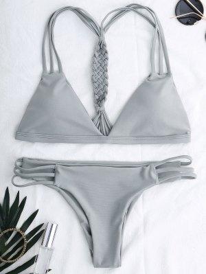 Traje De Bikini Escotado De Cordones - Gris S