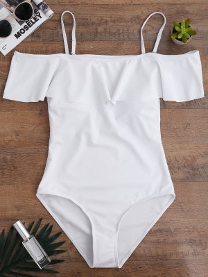 Off The Shoulder Flounced One-Piece Swimwear - White L