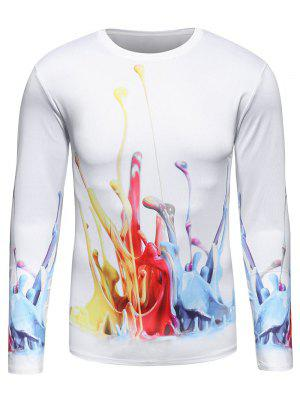 Manches longues 3D T-shirt Colorful Paint Splatter Imprimer