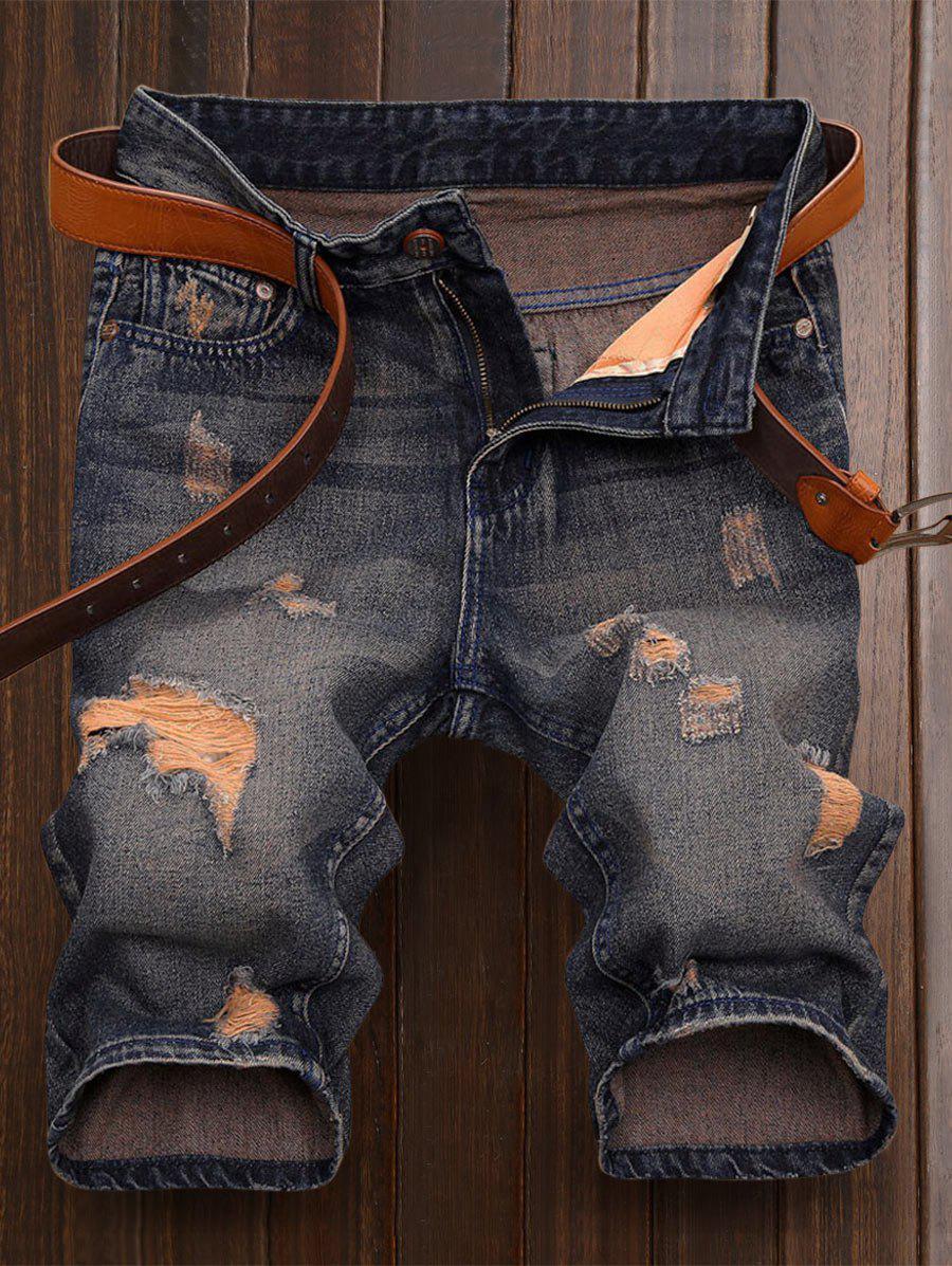 Jupes droits Shorts en jean déchiré