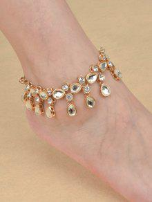 Teardrop Rhinestone Alloy Anklet - Golden