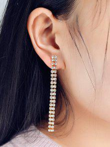 Zircon Strip Drop Earrings - Golden