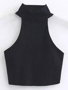 Cropped High Neck Ribbed Top - Black M