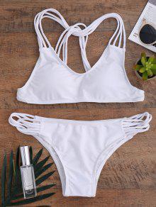 Bikini à Bretelle Spaghetti Ajouré Couleur Jaune - Blanc L