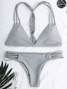 Traje De Bikini Escotado De Cordones - Gris M