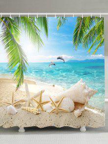 مشهد الشاطئ العفن مقاومة النسيج ستارة الحمام - الضوء الأزرق 180 * 180cm